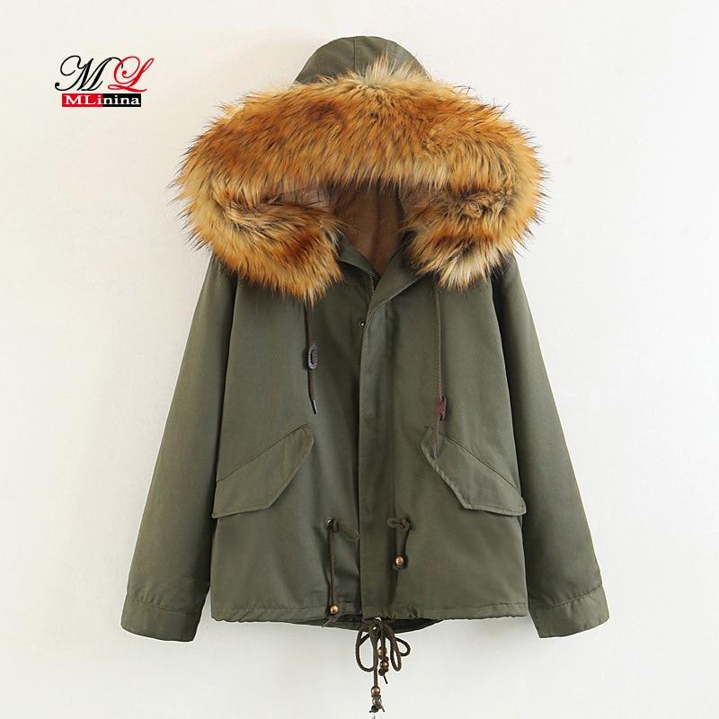 Mlinina Women Winter Jacket Female   Parka   Warm Snow Coat Hooded Fur Collar Thick Cotton Coats Wadded Jacket Thick Windbreaker