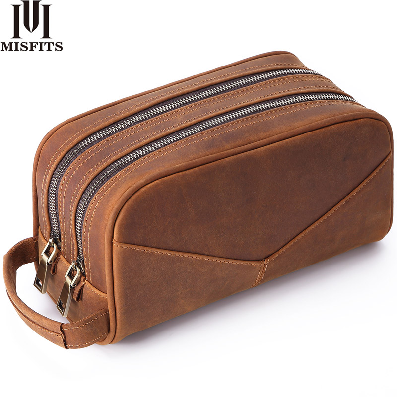 MISFITS Genuine Leather Men Wash Bag Fashion Makeup Bag Women Hand-held Cosmetic Case Large Capacity Brand Designer Toiletry Bag
