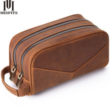 MISFITS Genuine Leather Men Wash Bag Fashion Makeup Bag Women Hand held Cosmetic Case Large Capacity Brand Designer Toiletry Bag
