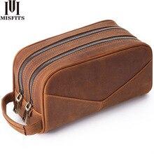 MISFITS hakiki deri erkek yıkama çantası moda makyaj çantası kadın el kozmetik durumda büyük kapasiteli marka tasarımcı makyaj çantası