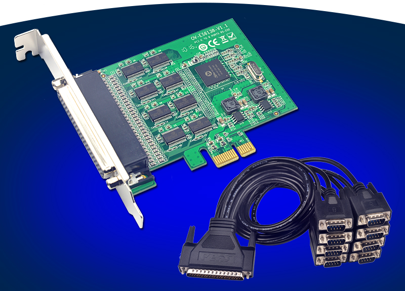 PCI-E to 8 Ports RS232 Serial Card 15kV ESD Protection 921Kb High Speed Transfer pci e to
