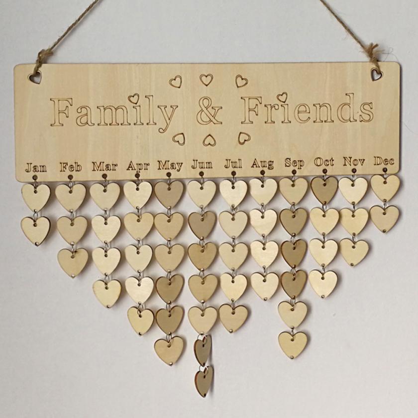 Новейшие древесины на день рождения напоминание доска березовой фанеры табличка знак Семья & Friends DIY Календари уникальный стиль Home Decor