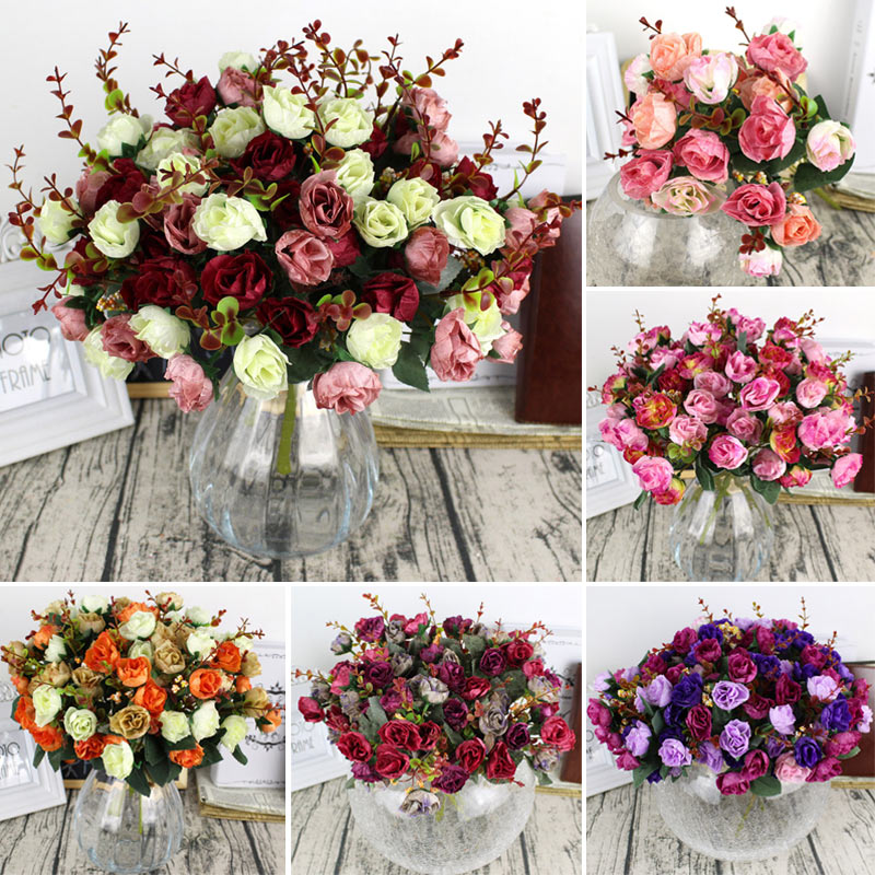 Lifelike Artificial Rose Flower 21 Heads Fake Rose for Wedding Home Decoration WXV Sale