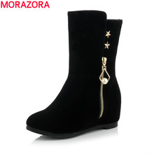 2017 PLus size 34-41 mature style height increasing boots for lady nubuck leather flat zip mid calf boot winter shoes