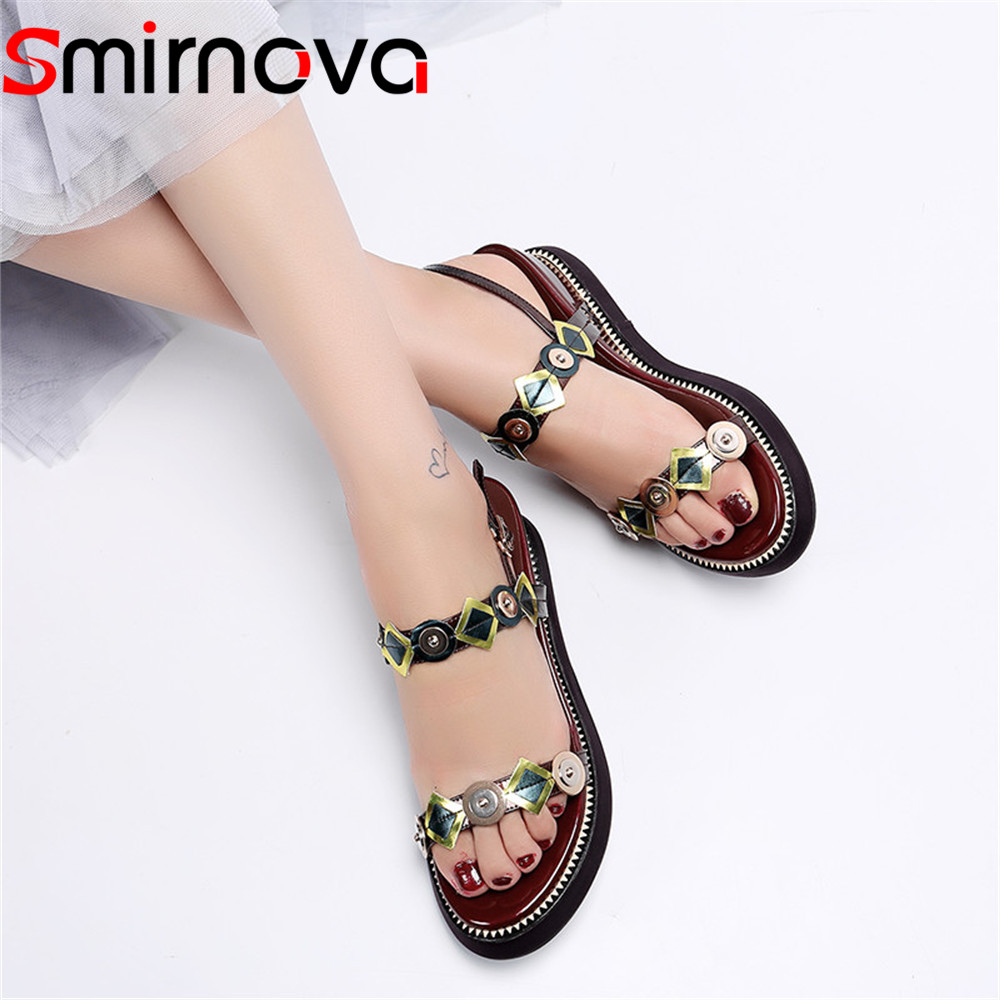 Smirnova 2018 fashion summer new shoes woman buckle platform wedges shoes casual sandals women genuine leather prom shoes brown xiaying smile woman sandals shoes women pumps summer casual platform wedges heels sennit buckle strap rubber sole women shoes