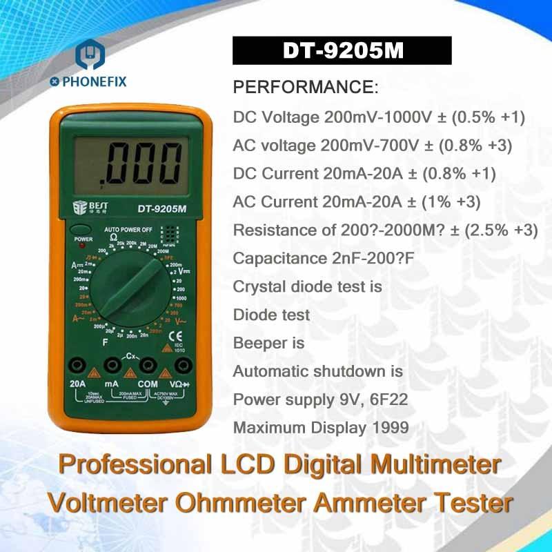 Multimeter DT-9205M Digital Multimeter BEST 9205M Handheld LCD Screen Digital Multimeter With buzzer Test Meter Phone Repair Kit