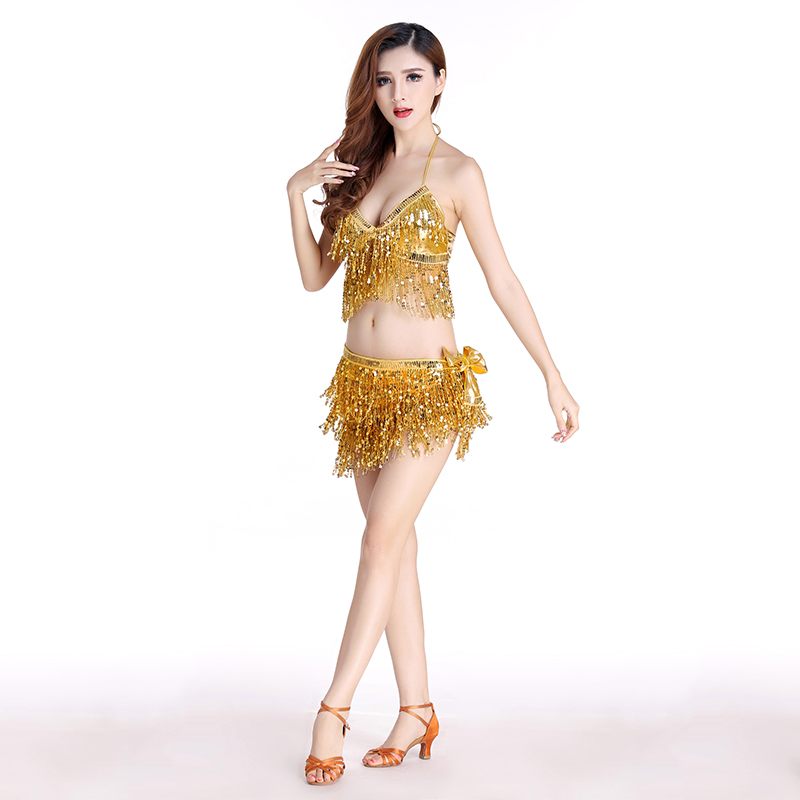 Image 2 - Belly Dance Latin Sequin Halter Top Bra Belt Hip Skirt Set Sexy Party Costume Tassel Temptation Stage Performance Sets 9 Colors-in Belly Dancing from Novelty & Special Use