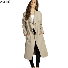 ZAFUL 2017 Winter Coat Women Wide Lapel Belt Pocket Wool Blend Coat Oversize Long Red Trench Coat Outwear Wool Coat Women