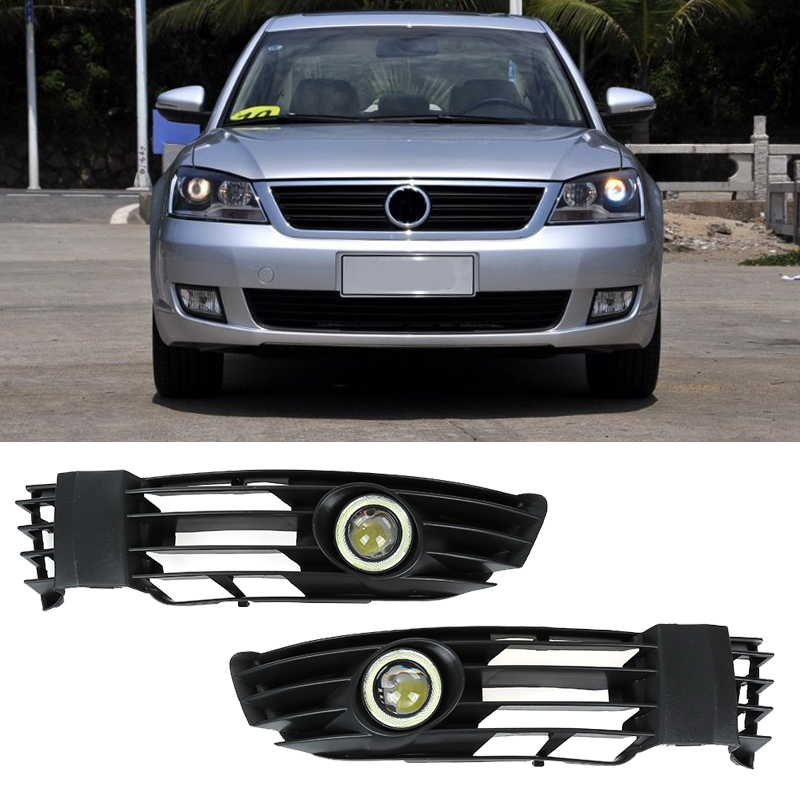 2pcs Front Lower Bumper Grill +White Fog Light Lamp For 01-05 VW Passat B5.5 NEW