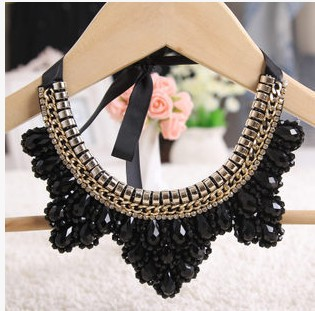 Strass Big Choker colliers pour femmes, Longueur : Can ajustement Multi couleur cristal collier ruban noir colliers colorés