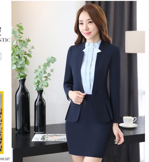 276fe1758 Pantalones de las mujeres traje de manga Larga traje ropa de uniforme de  Oficina profesional Esteticista uniformes de Invierno mujer chaqueta de  traje ...
