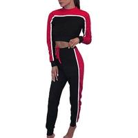 Fall 2Pcs Set Striped Crop Top Pants Women Long Sleeve Jumpsuit Pants Track Suits Female Causal
