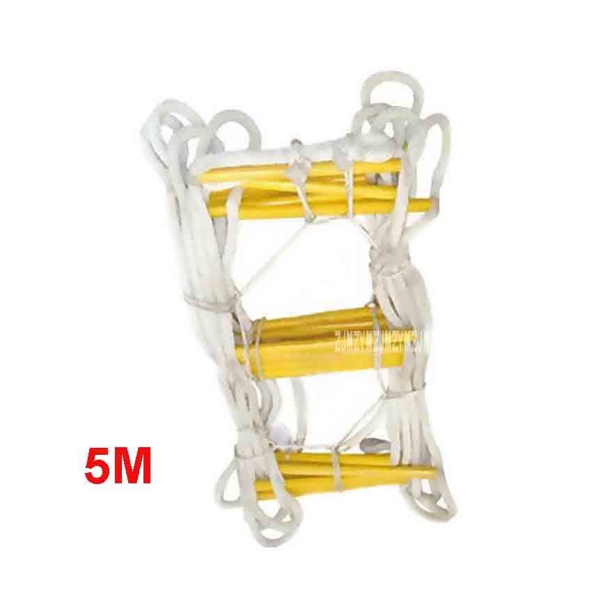 New 5M Upgrade Escape Ladder Wear-resistant Reinforced Anti-skid Soft Ladder Fire Inspection Rope Ladder 18-20MM (1-2nd Floor)