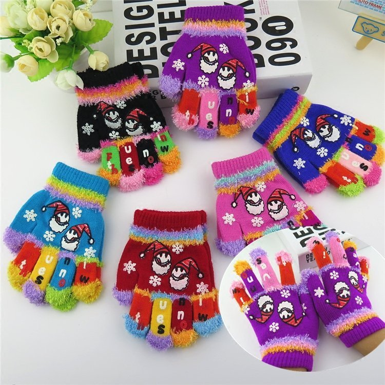 Autumn and winter childrens thicken thermal gloves child christmas snowman knitted multicolour gloves kids winter gloves