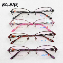 BCLEAR Beautiful women cat eye style metal alloy eyeglasses new half frame female eyewear black pink purple red color hot 1012