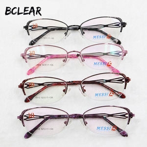 Image 1 - BCLEAR Beautiful women cat eye style metal alloy eyeglasses new half frame female eyewear black pink purple red color hot 1012