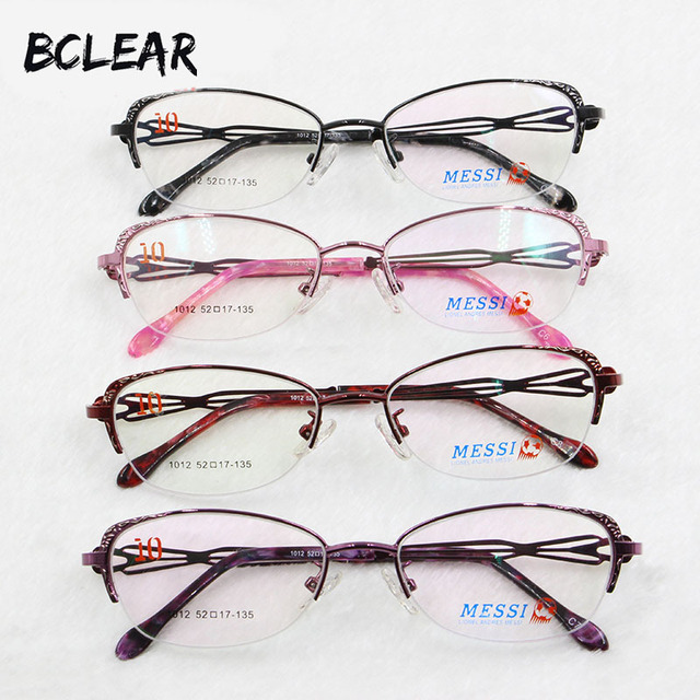 BCLEAR יפה נשים עין חתול סגנון מתכת סגסוגת משקפיים חדש חצי מסגרת נקבה eyewear שחור ורוד סגול אדום צבע חם 1012