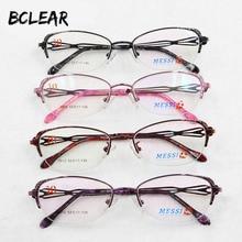 Bclear bela mulher olho de gato estilo liga de metal óculos novo meio quadro feminino eyewear preto rosa roxo cor vermelha quente 1012