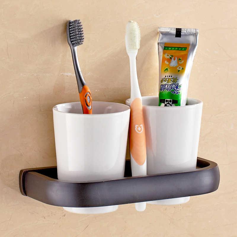 פליז זהב כוס כפולה בעל מברשת שיניים זהב פליז כפול שן מברשת אמבטיה מחזיק כוס מחזיק מברשת שיניים מחזיק