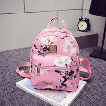 women casual shopping bags new fashion ladies travel Backpack Fashion Causal Floral Printing Leather Bag