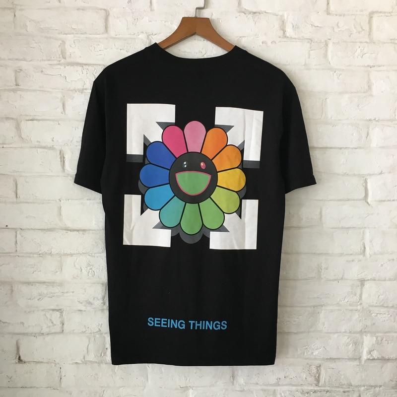 YouthCodes Vintage Floral T Shirt Arrow Box Logo T-Shirts Men Women Sunny Sunflower Smile Tee Cotton Fashion Fuuny Joker T Shirt