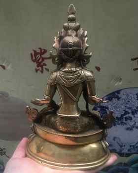 8 \'\'จีนทิเบต Pure Bronze Vajrasattva พระโพธิสัตว์พระพุทธรูปรูปปั้น 21 ซม.