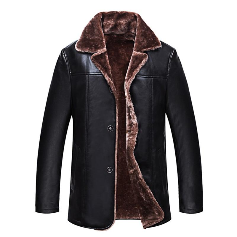 Plus Size 4XL Mens Thick Warm Winter Cheap Leather Jacket For Men High Quality Plus Velvet Long Lapel Faux Fur Jackets And Coats