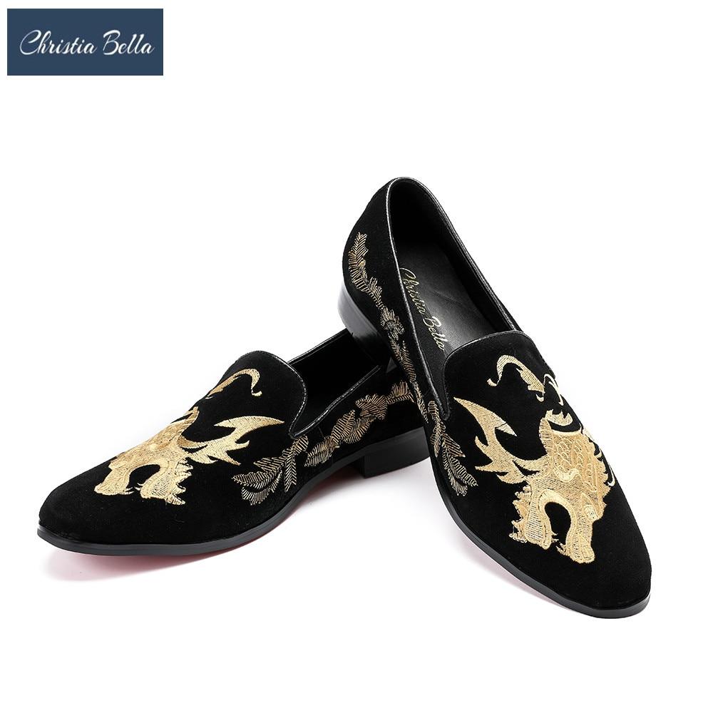 купить Christia Bella Fashion Party and Wedding Men Dress Shoes Handmade Dragon Embroidery Men Loafers Suede Leather Smoking Slippers по цене 6731.75 рублей
