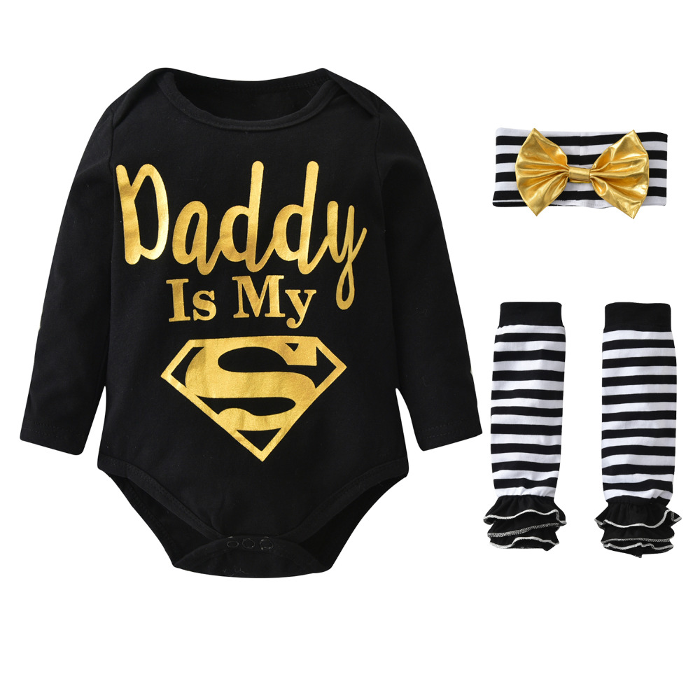 71c3bc9d0ae5 Infant Clothing Baby Girl Clothes 3Pcs Set Long Sleeve Dad is My Superman  Romper Striped Legging Warmer Headwear Toddler Outfits-in Clothing Sets  from ...