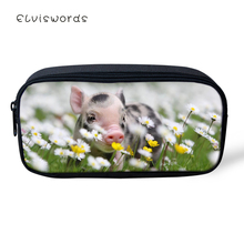 ELVISWORDS Kids Pencil Case Flower The Little Pig Print Students Stationery Box Kawaii Animal School Pen Bags Womens Beautician