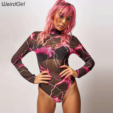 Weirdgirl women transparent bodysuits sexy mesh turtleneck full sleeve femme sli