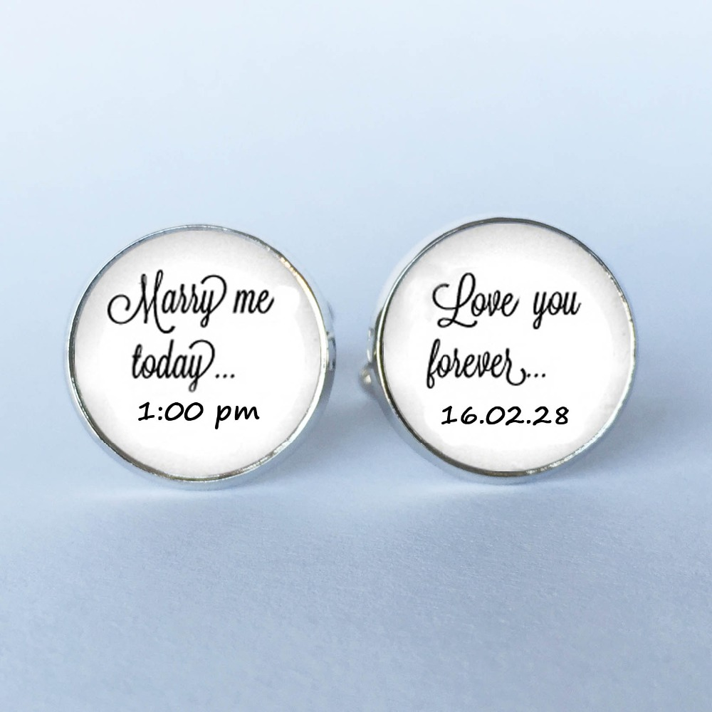 1Pair Marry Me Today Groom Cufflinks Custom Wedding Date Cufflinks - Wedding Cuff Links for the Groom Love Me Forever Cufflinks(China)