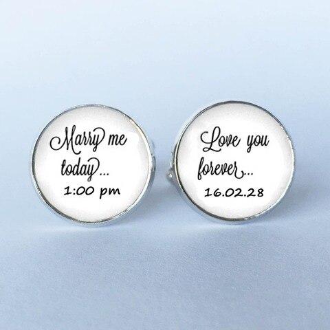 Запонки для жениха на заказ Свадебные с датой 1 пара