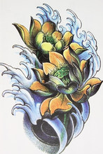 Sea And Yellow Lotus Tattoo 21 X 15 CM Sized Sexy Cool Beauty Tattoo Waterproof Hot Temporary Tattoo Stickers