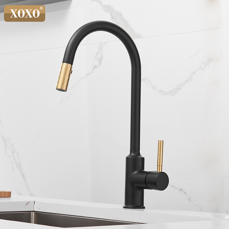 Kitchen Faucet Pull Out Cold And Hot Brushed Gold Torneira Cozinha Black Single Holder Single Hole Sink Faucet Mixer 1346