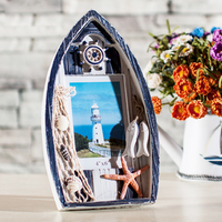 Mediterranean Style Wood Picture Frames Blue White Ship Photo Frame Home Decor