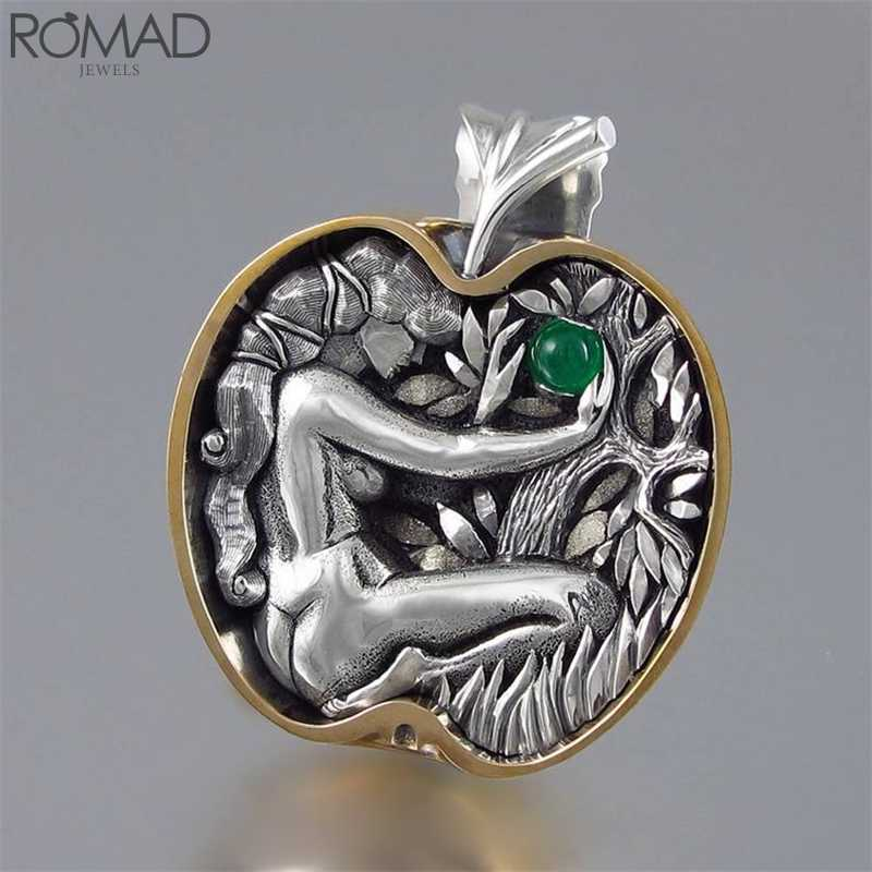 ROMAD ヴィンテージクリスタルのネックレス女性命の木のネックレス中空刻まグリーンジェムストーンネックレスガーネットペンダントコリアー R5