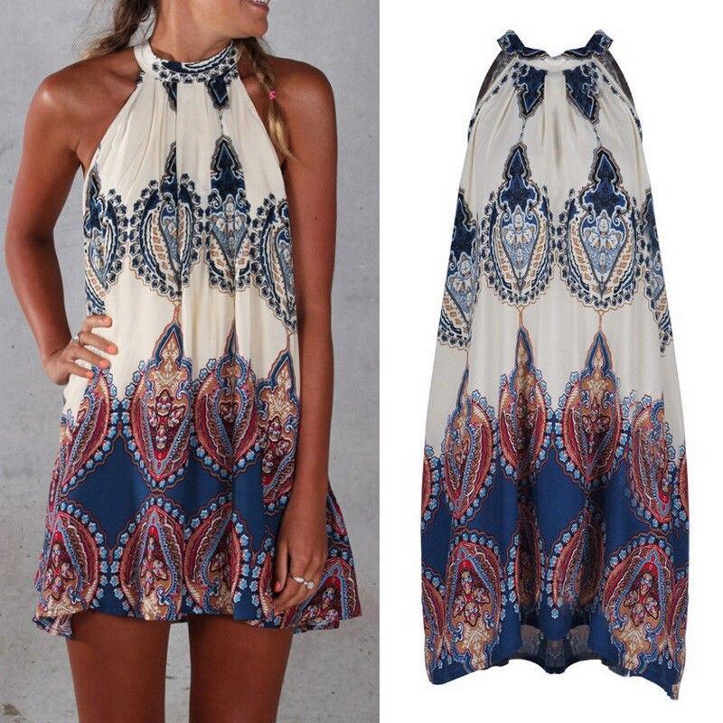 Women Summer Beach Mini Sundress Ladies Swim Cover Up Casual Sleeveless Swing Boho Short Dress Swimsuit Beachwear