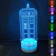 Doctor Who Police Pavilion Call Box 3D LED Table Lamp Touch Colorful 7 Color Change Acrylic Night Light Decorative Lamp 1piece 7 colors change lamp police box 3d lamp acrylic led usb table lamp tardis lights multi colored bulbing light