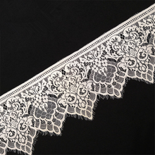 3Meters Embroidered Lace Trim Applique Clothing Accessories Eyelash White Ribbon Sewing African Fabric Wedding Dress