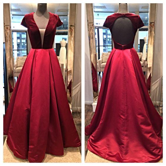 dd1c15188c Huifany Bridal Elegant Velvet Top Satin Skirt Long Evening Dresses V  neckline Backless Short Sleeves Red Arabic Party Gowns-in Prom Dresses from  Weddings ...