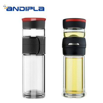 Creative Transparent Heat-resistant Double Wall Glass Coffee Bottle Men Outdoor Tea Water Separate Straight Cup Birthday Gifts