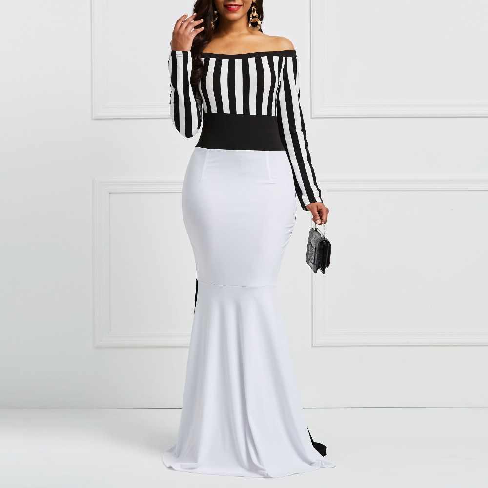 Clo цветное Платье-футляр, элегантное женское платье с длинным рукавом, в полоску, с цветным блоком, белое, черное, облегающее, макси, Русалка, вечерние платья