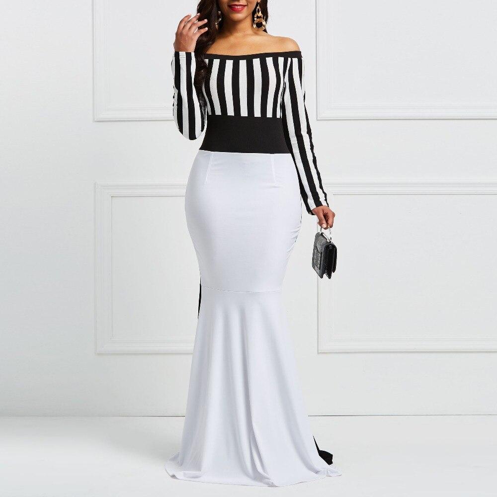 Clocolor Sheath Dress Elegant Women Off Sholuder Long Sleeve Stripes Color Block White Black Bodycon Maxi Mermaid Party Dress