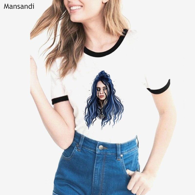 2019 Hip Hop Billie Eilish   T  -  Shirt   women tops 2019 summer high quality tshirt femme funny white   t     shirt   female harajuku   shirt