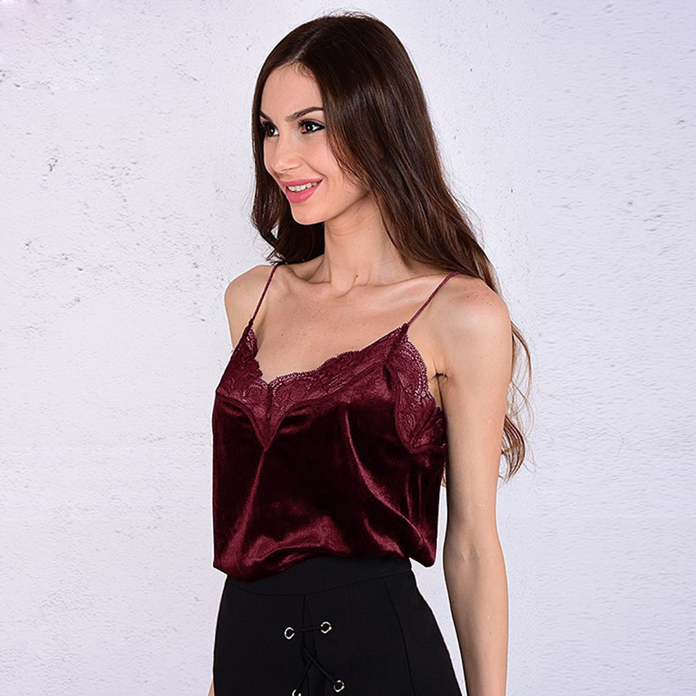 Sexy Velvet small vest Lace lotus stitching red top Sexy Female Satin Slip Crop Tops 2018 Summer Ladies Silk Camisole
