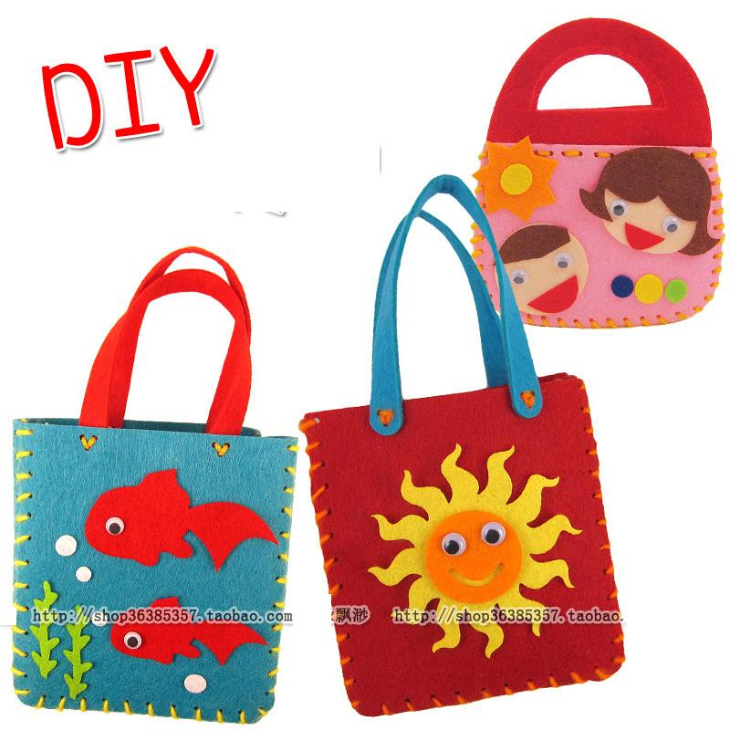 5pcs Children DIY non woven Cloth cartoon hand bag toys Kids parent handmade bags for kindergarten