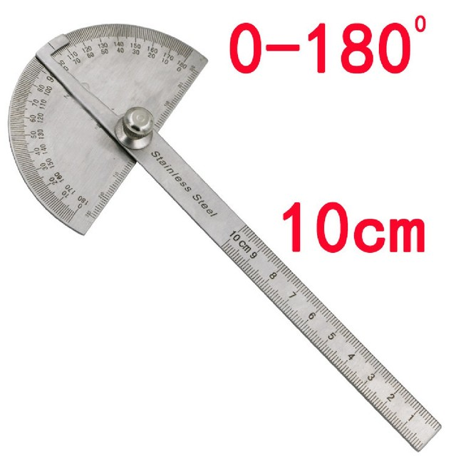 new stainless steel 180 degree protractor angle finder rotary measuring ruler for woodworking tools for measuring