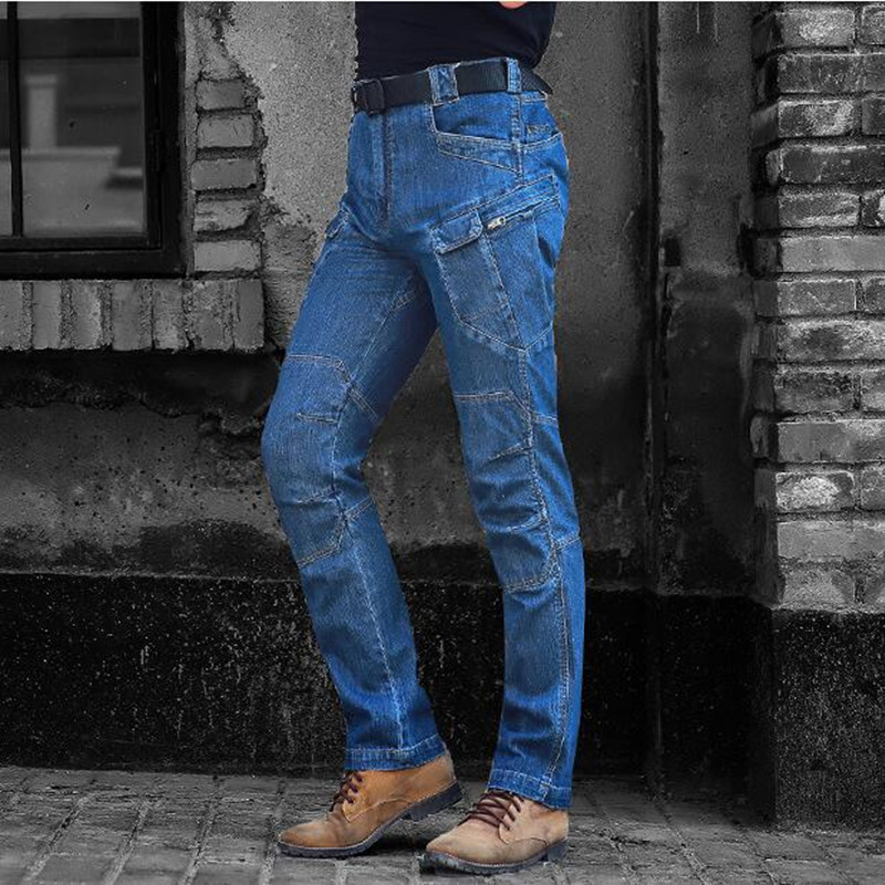 Multi Pocket Stretch Military Tactical Blue Jean Pants Spring Outdoor Mens Hiking Camping Hunting Elastic Denim Long Trousers