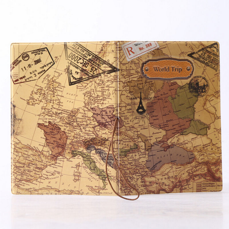 2017 New World Trip Map Travel Passport Covers for Men   PVC Leather     2017 New World Trip Map Travel Passport Covers for Men   PVC Leather ID  Card Bag Passport holder Passport Wallets 14 9 6cm in Card   ID Holders  from Luggage